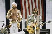Mike Love (left) and Carl Wilson of the Beach Boys performing on stage, circa 1975.
