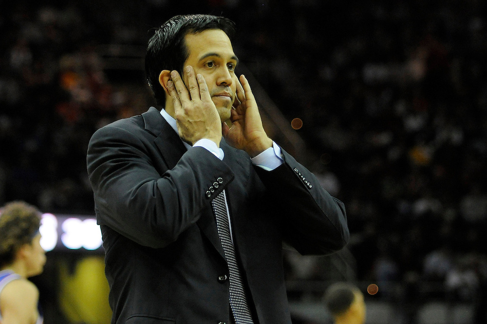 Feb 4, 2010; Cleveland, OH, USA; Miami Heat head coach Erik Spoelstra expresses his disappointment during the fourth quarter against the Cleveland Cavaliers at Quicken Loans Arena. The Cavaliers beat the Heat 102-86. Mandatory Credit: Jason Miller-US PRESSWIRE