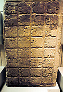 Mayan lintel listing the nine generations of rulers at Yaxchilan. 450-550 AD