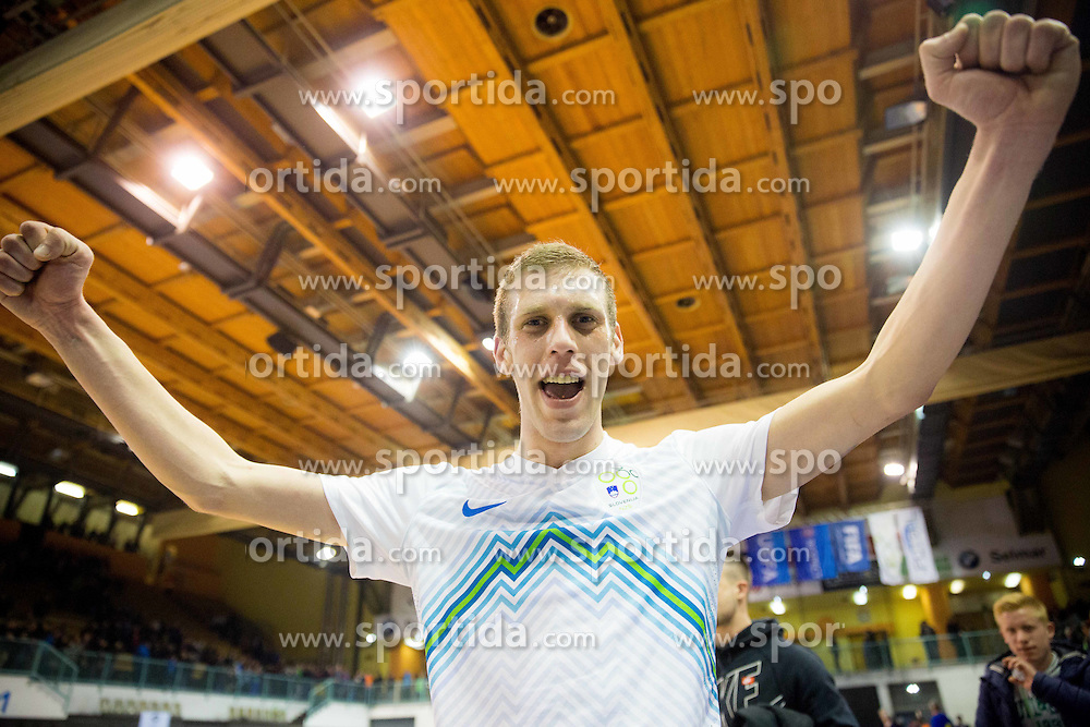 Alen Fetic of Slovenia celebrates after winning during futsal match between National teams of Slovenia and Spain in Play off of FIFA Futsal World Cup Colombia 2016 Qualifications, on March 22, 2016 in Arena Tabor, Maribor, Slovenia. Photo by Vid Ponikvar / Sportida