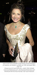 MISS DORIT MOUSSAIEFF close friend of the President of Iceland, at a ball in London on 10th October 2001.OSZ 137