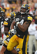 October 23 2010: Iowa Hawkeyes defensive end Adrian Clayborn (94) is pumped up after a play during the first half of the NCAA football game between the Wisconsin Badgers and the Iowa Hawkeyes at Kinnick Stadium in Iowa City, Iowa on Saturday October 23, 2010. Wisconsin defeated Iowa 31-30.