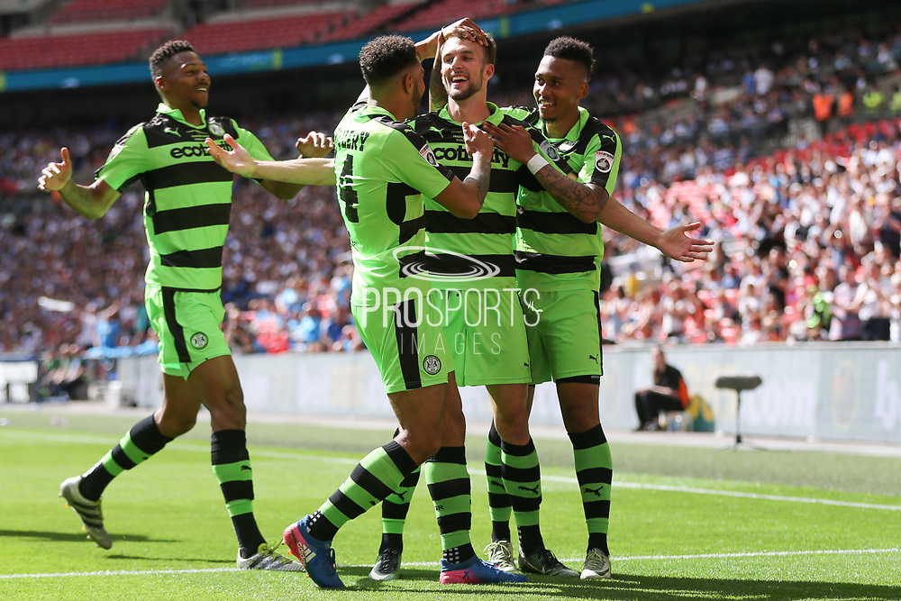 Forest Green Rovers Christian Doidge(9) scores a goal 2-0 and celebrates with the team during the Vanarama National League Play Off Final match between Tranmere Rovers and Forest Green Rovers at Wembley Stadium, London, England on 14 May 2017. Photo by Shane Healey.