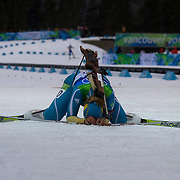 Winter Olympics, Vancouver, 2010.Oksana Khvostenko, Ukraine, feels the pain after finishing during the Women's 7.5 KM Sprint Biathlon at The Whistler Olympic Park, Whistler, during the Vancouver  Winter Olympics. 13th February 2010. Photo Tim Clayton