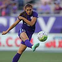 ORLANDO, FL - APRIL 23: Alex Morgan #13 of Orlando Pride kicks the ball during a NWSL soccer match against the Houston Dash at the Orlando Citrus Bowl on April 23, 2016 in Orlando, Florida. (Photo by Alex Menendez/Getty Images) *** Local Caption *** Alex Morgan