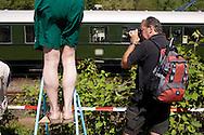 DEU, Germnay, Ruhr area, Bochum, railway museum in the district Dahlhausen, visitors taking pictures of the locomotives...DEU, Deutschland, Ruhrgebiet, Eisenbahnmuseum im Stadtteil Dahlhausen, Besucher fotografieren die Lokomotiven.