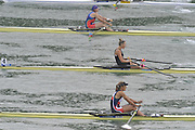 Lucerne SWITZERLAND,  W1X. Start of the Second semi-final women's single sculls,  top down AZE W1X Nataliya MUSTAFYEVA, NZL W1X. Emma TWIGG and CZE W1X Mirka KNAPKOVA,  at the   2011 FISA World Cup on the Lake Rotsee.  15:42:22  Saturday   09/07/2011   [Mandatory Credit Peter Spurrier/ Intersport Images]