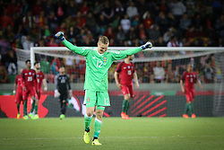 March 28, 2017 - Funchal, Madeira, Portugal - Swedens goalkeeper Karl-Johan Johnsoon celebrating a goal during the FIFA 2018 World Cup friendly match between Portugal v Sweden at Estadio dos Barreiros on March 28, 2017 in Funchal, Madeira, Portugal. (Credit Image: © Dpi/NurPhoto via ZUMA Press)