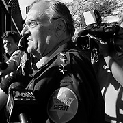 "Maricopa County Sheriff Joe Arpaio speaks to protesters after a press conference highlighting the Sheriff's Office's most recent ""crime suppression operation"" on April 29. He has pledged more sweeps in an attempt to arrest those suspected of being in the country illegally."