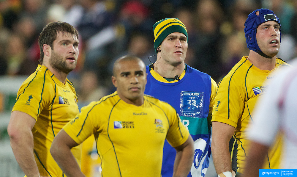 Australian captain James Horwill acting as the waterboy during the Australia V USA, Pool C match during the IRB Rugby World Cup tournament. Wellington Stadium, Wellington, New Zealand, 23rd September 2011. Photo Tim Clayton...