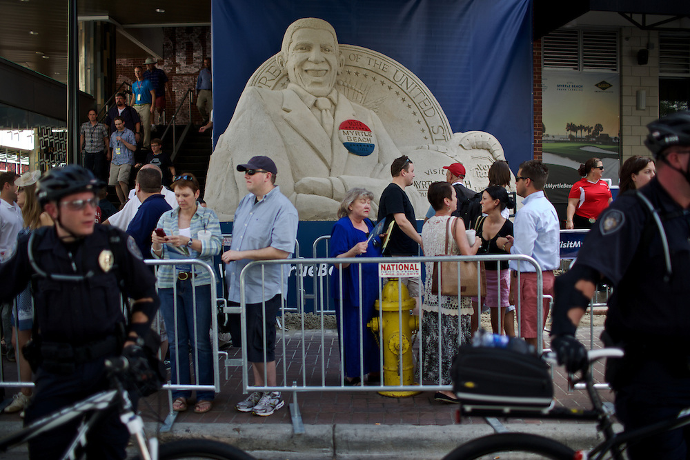 A sand sculpture of President Barack Obama is displayed on S. College Street during the 2012 Democratic National Convention on Sunday, September 2, 2012 in Charlotte, NC.