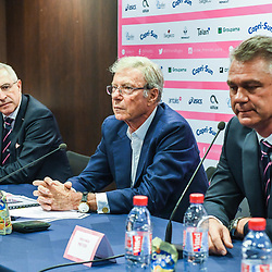 Hubert Patricot president of Stade Francais, Stade Francais Paris owner Hans Peter Wild and Heyneke Meyer new head coach of Stade Francais during the press conference of Stade Francais Paris rugby at Stade Jean Bouin on April 16, 2018 in Paris, France. (Photo by Anthony Dibon/Icon Sport)
