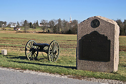 11.01.2016, Museum, Gettysburg, USA, Battle of Gettysburg, im Bild An der Strecke der Auto-Tour stehen immer wieder Kanonen und Gedenksteine, Schlachtfeld von Gettysburg // View the historic site of the Battle of Gettysburg at Museum in Gettysburg, United States on 2016/01/11. EXPA Pictures © 2016, PhotoCredit: EXPA/ Eibner-Pressefoto/ Hundt<br /> <br /> *****ATTENTION - OUT of GER*****