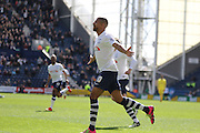 Jermaine Beckford Scores to put Preston 1-0 up during the Sky Bet Championship match between Preston North End and Milton Keynes Dons at Deepdale, Preston, England on 16 April 2016. Photo by Pete Burns.