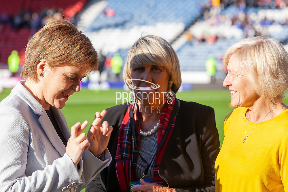 First Minister Nicola Sturgeon has her fingers crossed for a result following the Scotland Cap presentation to Rose Rielly & Jean Stewart ahead of the International Friendly match between Scotland Women and Jamaica Women at Hampden Park, Glasgow, United Kingdom on 28 May 2019.