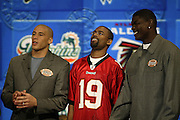 Philadelphia Eagles wide receiver James Thrash and Tampa Bay Buccaneers wide receiver Keyshawn Johnson at NFL Players Week on Wheel of Fortune on 11/04/2003. ©Paul Anthony Spinelli