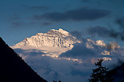 30 JULY 2007 -- INTERLAKEN, BERN, SWITZERLAND: The Jungfrau mountain as seen from downtown Interlaken in the canton of Bern, Switzerland. Interlaken is the heart of the Bernese-Oberland and the center of the region's tourist industry.  Photo by Jack Kurtz