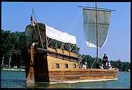 Working replica of Lewis & Clark's 55-foot keelboat sails Missouri River oxbow lake in Lewis and Clark State Park; Onawa, Iowa