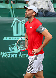 April 13, 2018 - Houston, TX, U.S. - HOUSTON, TX - APRIL 13:  Ivo Karlovic of Croatia reacts after losing a point during the Quarterfinal round of the Men's Clay Court Championship on April 13, 2018 at River Oaks Country Club in Houston, Texas.  (Photo by Leslie Plaza Johnson/Icon Sportswire) (Credit Image: © Leslie Plaza Johnson/Icon SMI via ZUMA Press)