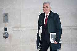 © Licensed to London News Pictures. 08/12/2019. London, UK. Shadow Chancellor of the Exchequer John McDonnell arrives at the BBC. Later he will appear on the Andrew Marr Show. Photo credit: George Cracknell Wright/LNP