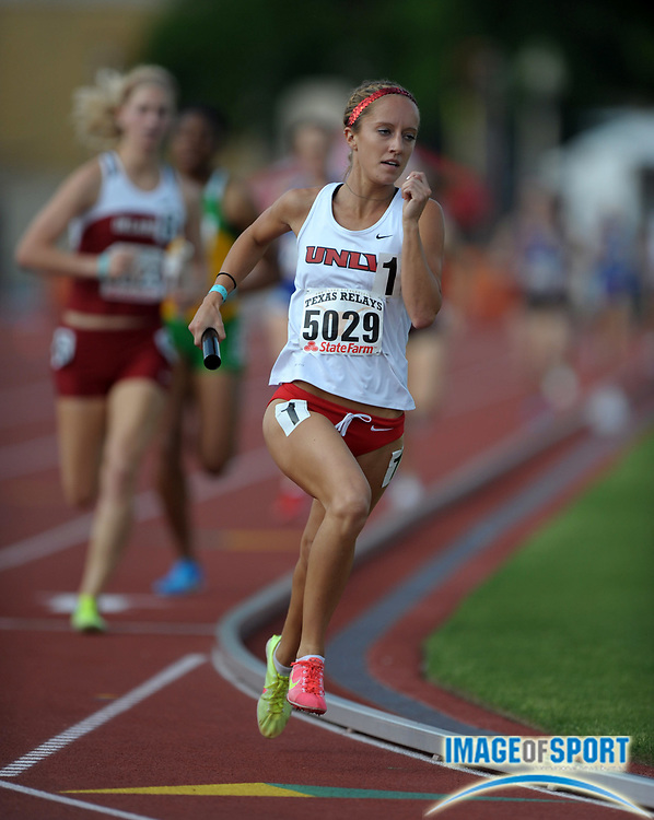 Mar 29, 2012; Austin, TX, USA; Alli Bartosch runs the second leg on the UNLV womens 4 x 800m relay that won in 8:39.22 in the 85th Clyde Littlefield Texas Relays at Mike A. Myers Stadium.