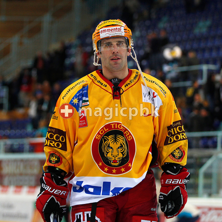 SCL Tigers forward Daniel Steiner on his way out after the National League A ice hockey game between Rapperswil-Jona Lakers and SCL Tigers held at the Diners Club Arena in Rapperswil, Switzerland, Saturday, Sept. 25, 2010. (Photo by Patrick B. Kraemer / MAGICPBK)