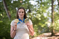 Klara Apotekar, Slovenian judoka, showing her two gold medals from European Champinship and European games from Minsk on June 29th, 2019 in Smartno v Rozni dolini, Slovenia. Photo by Milos Vujinovic / Sportida