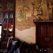 (03/14/2011 JERUSALEM) P. Michael Williams sits quietly waiting for the day of sightseeing and rehearsal to begin inside the lobby of the historic Jerusalem Hotel in Jerusalem.  [WILLIE J. ALLEN JR.]