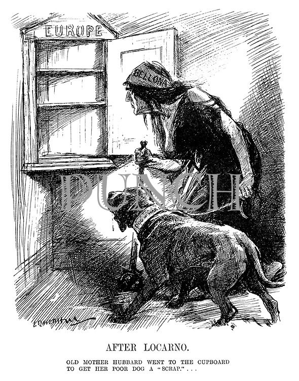 "After Locarno. Old mother Hubbard went to the cupboard to get her poor dog a ""scrap.""... (cartoon showing Bellona the Goddess of War opening the food cupboard of Europe to feed her Dog of War but finding it empty during the InterWar era)"