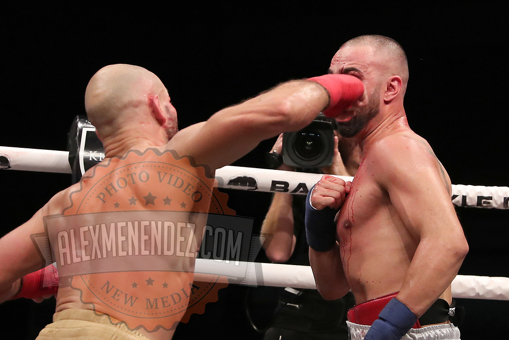 TAMPA, FL - JUNE 22: Artem Lobov lands a right to the face of Paulie Malignanni during the Bare Knuckle Fighting Championships at Florida State Fairgrounds Entertainment Hall on June 22, 2019 in Tampa, Florida. (Photo by Alex Menendez/Getty Images) *** Local Caption *** Paulie Malignanni; Artem Lobov