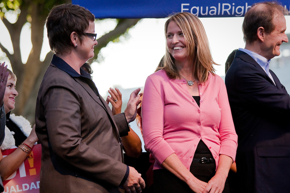 L-R. Kristin Perry and Sandra Stier, one of the Gay couples and plaintiffs against Prop. 8, shows their support for Gay Marriage at a rally after Prop. 8 was overturned.