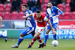 Jonson Clarke-Harris of Bristol Rovers takes on Richard Wood of Rotherham United - Mandatory by-line: Robbie Stephenson/JMP - 18/01/2020 - FOOTBALL - Aesseal New York Stadium - Rotherham, England - Rotherham United v Bristol Rovers - Sky Bet League One