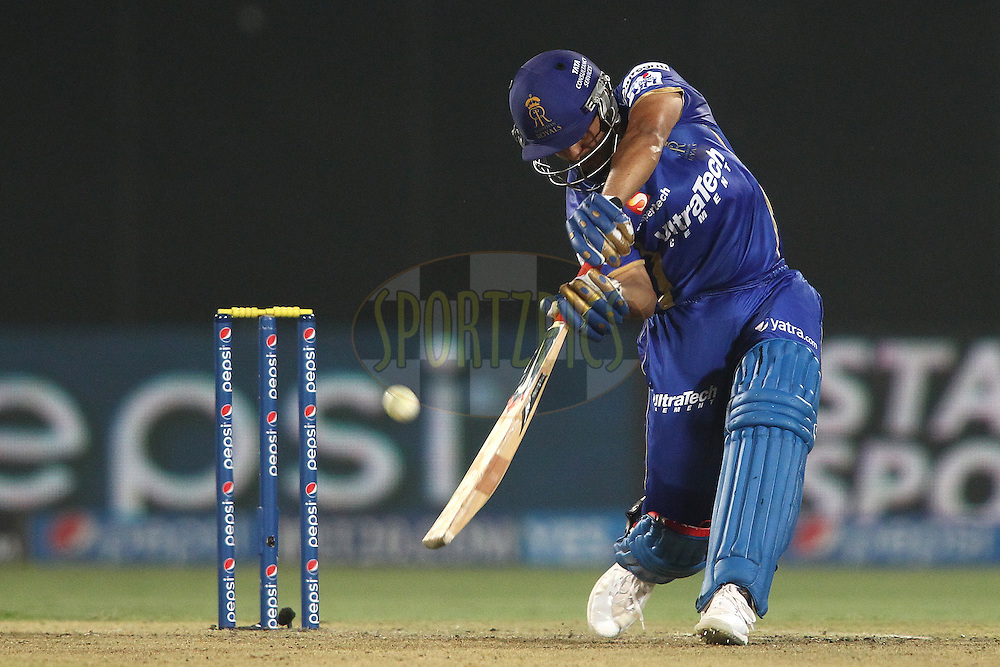 Karun Nair of the Rajasthan Royals hits over the top for a boundary during match 23 of the Pepsi Indian Premier League Season 2014 between the Delhi Daredevils and the Rajasthan Royals held at the Feroze Shah Kotla cricket stadium, Delhi, India on the 3rd May  2014<br /> <br /> Photo by Shaun Roy / IPL / SPORTZPICS<br /> <br /> <br /> <br /> Image use subject to terms and conditions which can be found here:  http://sportzpics.photoshelter.com/gallery/Pepsi-IPL-Image-terms-and-conditions/G00004VW1IVJ.gB0/C0000TScjhBM6ikg