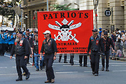 Patriots veterans motorcycle club march during Brisbane ANZAC day 2014 parade