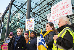 London, UK. 10th April 2019. Rebecca Long-Bailey, Shadow Secretary of State for Business Energy & Industrial Strategy, joins outsourced workers belonging to the Public & Commercial Services (PCS) union standing on a picket line outside their place of work at the Government Department for Business, Energy and Industrial Strategy (BEIS) during strike action to demand a real living wage of £10.55 per hour (the Living Wage Foundation's London Living Wage) and terms and conditions comparable with civil servants who work in the same department.