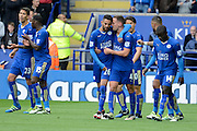 Leicester City midfielder Riyad Mahrez celebrates goal during the Barclays Premier League match between Leicester City and Swansea City at the King Power Stadium, Leicester, England on 24 April 2016. Photo by Alan Franklin.