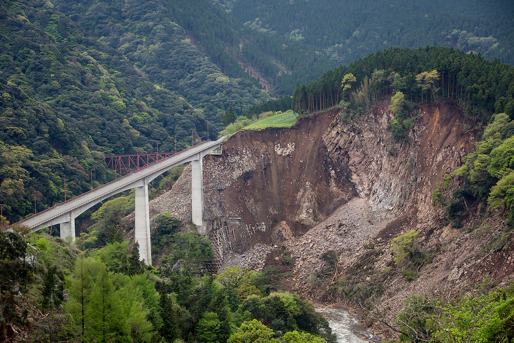 KUMAMOTO, JAPAN - APRIL 18: A collapse mountain and road is seen after the earthquake in Minamiaso, Kumamoto, Japan on April 18, 2016. The magnitude 7.3 earthquake hit Kyushu, just after the earthquake killed 9, at least 26 new fatalities by this earthquake, total death toll from the series of earthquake rises to 42.<br /> <br /> Photo: Richard Atrero de Guzman