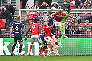 Kiko Casilla (33) of Leeds United has a crowd of players blocking his way during the EFL Sky Bet Championship match between Bristol City and Leeds United at Ashton Gate, Bristol, England on 9 March 2019.