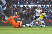 Derby County forward Tom Lawrence (10) is fouled by Rotherham United defender Michael Ihiekwe (20) and a penalty is awarded during the EFL Sky Bet Championship match between Derby County and Rotherham United at the Pride Park, Derby, England on 30 March 2019.