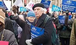 Equal marriage - protest, Trafalgar Square, London, Great Britain. Rally, organised by French group La Manif pour Tous, protests against same-sex marriage and 'defend' traditional marriage which the group claims is being 'sacrificed for the sake of politically-correct fashion.' A counter-protest, organised by the Secular Europe Campaign, 24, March 2013. Photo by Elliott Franks / i-Images...