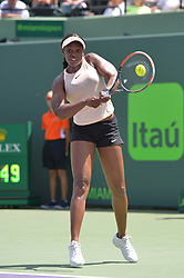 March 27, 2018 - Miami, FL, United States - KEY BISCAYNE, FL - March, 27: Sloane Stephens (USA) in action here, defeats Angelique Kerber (GER) 61 62 during day 9 of the 2018 Miami Open held at the Crandon Park Tennis Center on March 27, 2018 in in Key Biscayne, Florida.  (Photo Credit: Andrew Patron)   Credit: Andrew Patron/Zuma Wire (Credit Image: © Andrew Patron via ZUMA Wire)