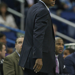 January 29, 2012; New Orleans, LA, USA; Atlanta Hawks head coach Larry Drew against the New Orleans Hornets during a game at the New Orleans Arena. The Hawks defeated the Hornets 94-72.  Mandatory Credit: Derick E. Hingle-US PRESSWIRE