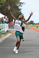 CAPE TOWN, SOUTH AFRICA - OCTOBER 08: Durando Aweries of Athletics SWD (3018) wins the sub youth boys 3km during the ASA 50km and Interprovincial Race Walking Championships at Youngsfield Military base on October 08, 2016 in Cape Town, South Africa. (Photo by Roger Sedres/Gallo Images)