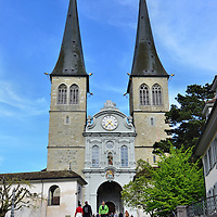 Church of St. Leodegar Fa&ccedil;ade in Lucerne, Switzerland<br />