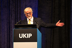 © Licensed to London News Pictures . 29/09/2017 . Torquay , UK . Interim Leader STEVE CROWTHER speaks at the podium . UKIP is due to announce the winner of a leadership election which has the potential to split the party . Photo credit: Joel Goodman/LNP
