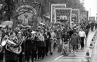 Allerton Silkstone and Riccall Branch banners. 1991 Yorkshire Miners Gala. Doncaster.