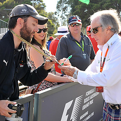 Jackie Stewart signing autographs.<br /> Round 1 - Third day of the 2015 Formula 1 Rolex Australian Grand Prix at The circuit of Albert Park, Melbourne, Victoria on the 14th March 2015.<br /> Wayne Neal | SportPix.org.uk