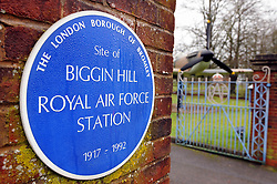 © Licensed to London News Pictures. 05/01/2015<br /> St George's RAF chapel in Biggin Hill is facing closure after the Ministry of Defence decided to pull funding. <br /> The chapel, along A233 Main Road,Biggin Hill,Kent could close from March next year if replacement funding is not found. <br />  The names of 454 servicemen operating from Biggin Hill who lost their lives in World War II are commemorated in the church. <br /> Also flanking the entrance are two full size replicas of a Spitfire and a Hurricane 'gate guardians'. <br /> The Chapel also has  Stained glass windows depicting a variety of aviation scenes some designed by Hugh Easton. <br /> <br /> <br /> <br /> (Byline:Grant Falvey/LNP)