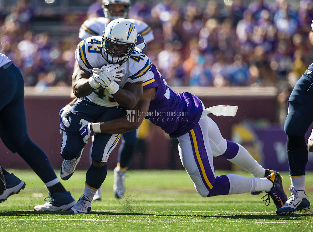 Sep 27, 2015; Minneapolis, MN, USA; San Diego Chargers running back Branden Oliver (43) carries the ball during the fourth quarter against the Minnesota Vikings at TCF Bank Stadium. The Vikings defeated the Chargers 31-14. Mandatory Credit: Brace Hemmelgarn-USA TODAY Sports