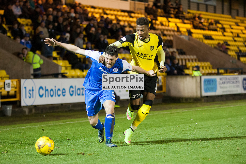 Livingston v Queen of the South, Scottish Championship, 2 January 2016, Lewis Kidd (Queen of the South, 2) is fouled by Myles Hippolyte (Livingston, 11) during the Livingston v Queen of the South Scottish Championship match played at the Toni Macaroni Arena, © Chris Johnston | SportPix.org.uk